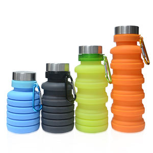 Personalized reusable rubber drinking water bottle heat resistant cups portable travel silicone folding cup