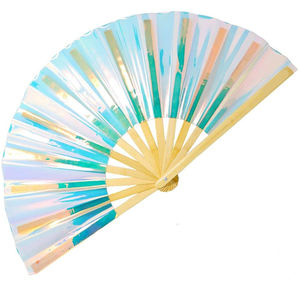 Promotional Custom Handheld Laser Foldable Folding Plastic Hand Fan
