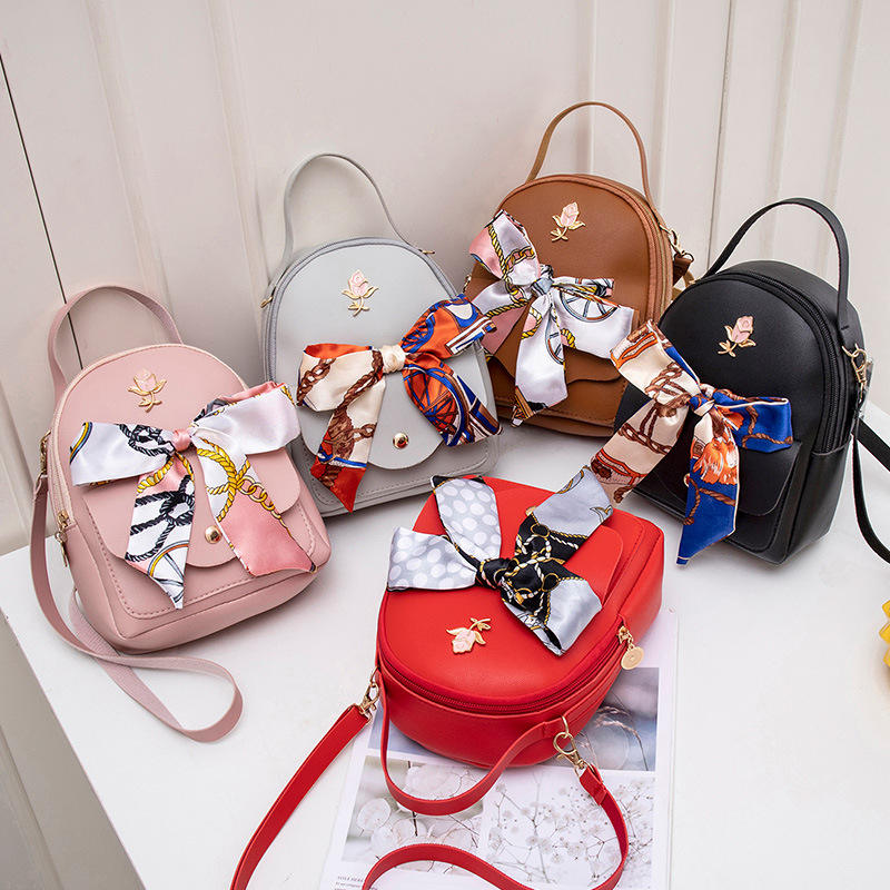 2020 Fashion Trend Small Fresh Bow Small Backpack Shoulder Messenger Shoulder Female Backpack