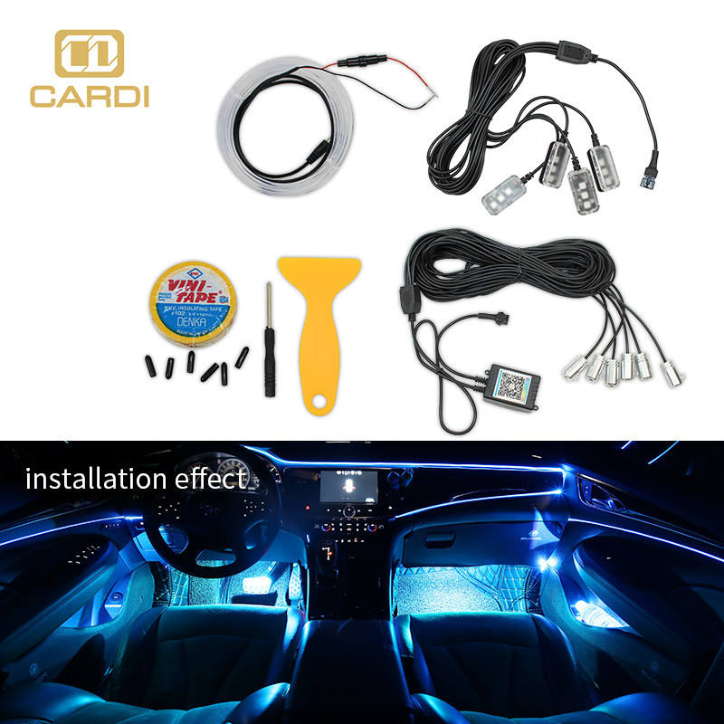 Factory price fiber optic multicolor led car interior ambient glow light kit tuning atmosphere
