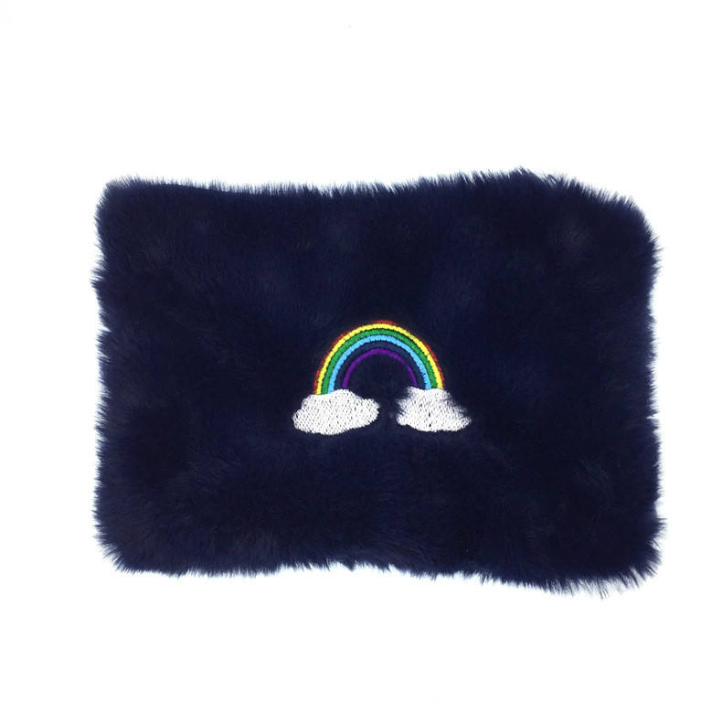 Embroidery Rainbow Down Cosmetic Bag Small Articles Receiving Bag Hand with Change Wallet Washing Bag
