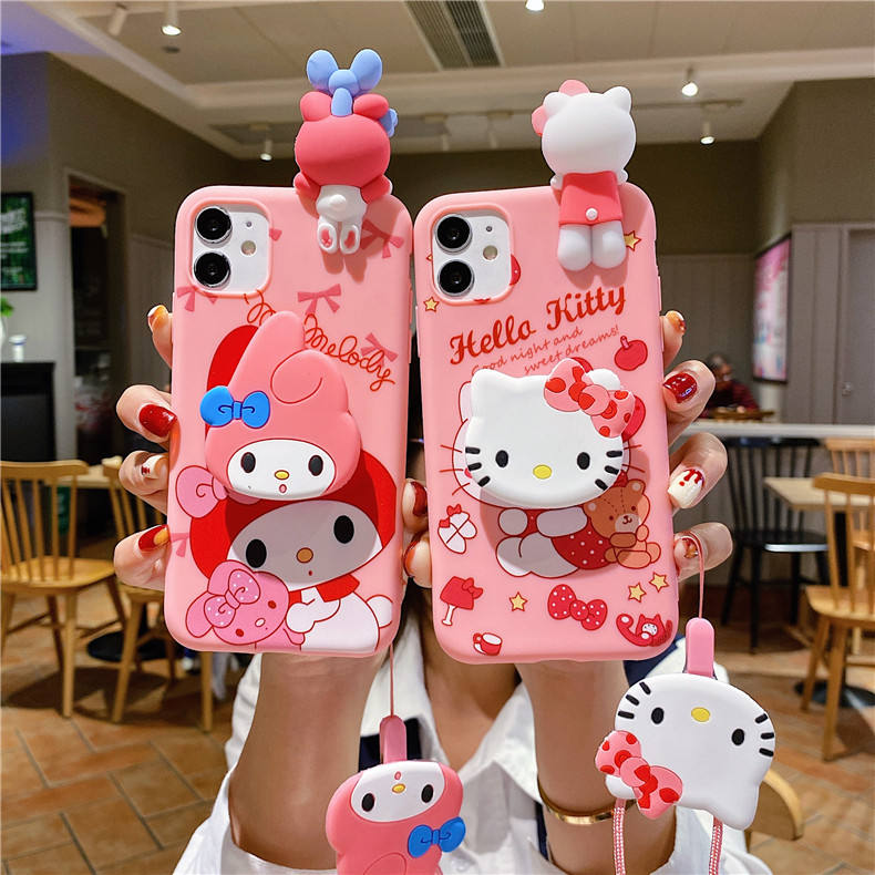 Für iPhone X Xs XR XSMAX 7 8 Plus 11 12 Pro Max Minnie Mickey Hallo Kitty Stich 3D Papa Puppen halter Ständer Riemen Soft Phone Case