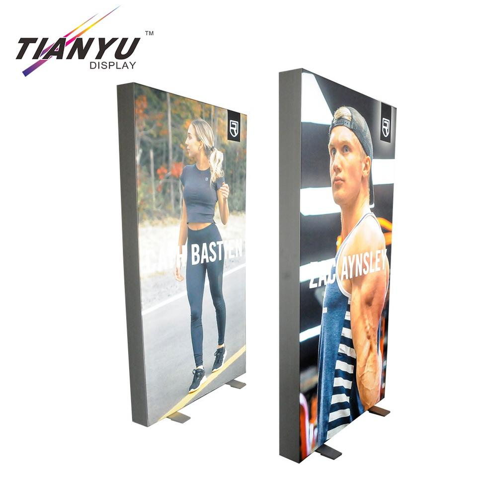 aluminum tension fabric edgelit led light box banner for trade show promotion