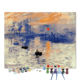 Framed Digital Picture Canvas Painting Monet Sunrise DIY Paint by Numbers With Stretcher Frame