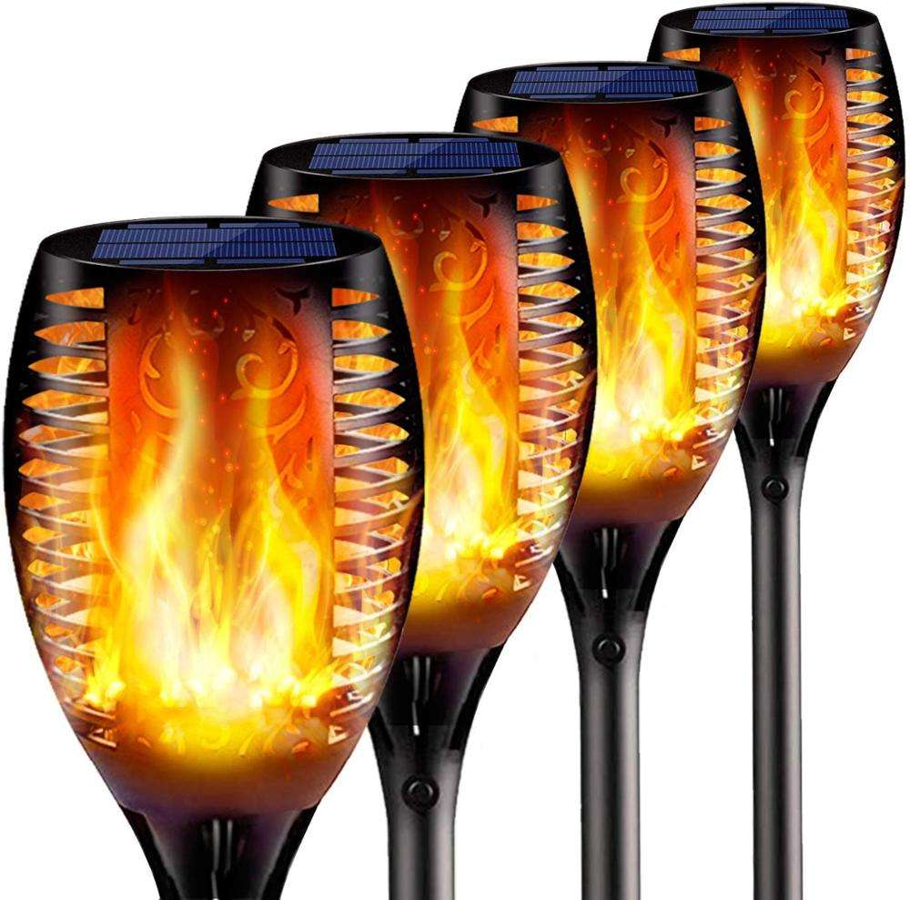 4 Pack Solar Lights Upgraded - Flickering Flames Torch Solar Path Light - Dancing Flame Lighting 96 LED Dusk to Dawn Flickering