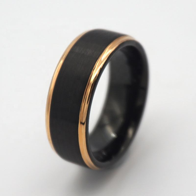 8mm Black carbide ring brushed tungsten ring for men