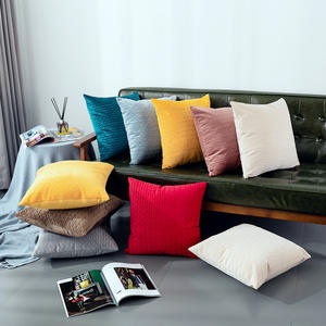 Wholesale Home Decorative Custom Polyester Super Soft Velour Pleated Cushion Cover
