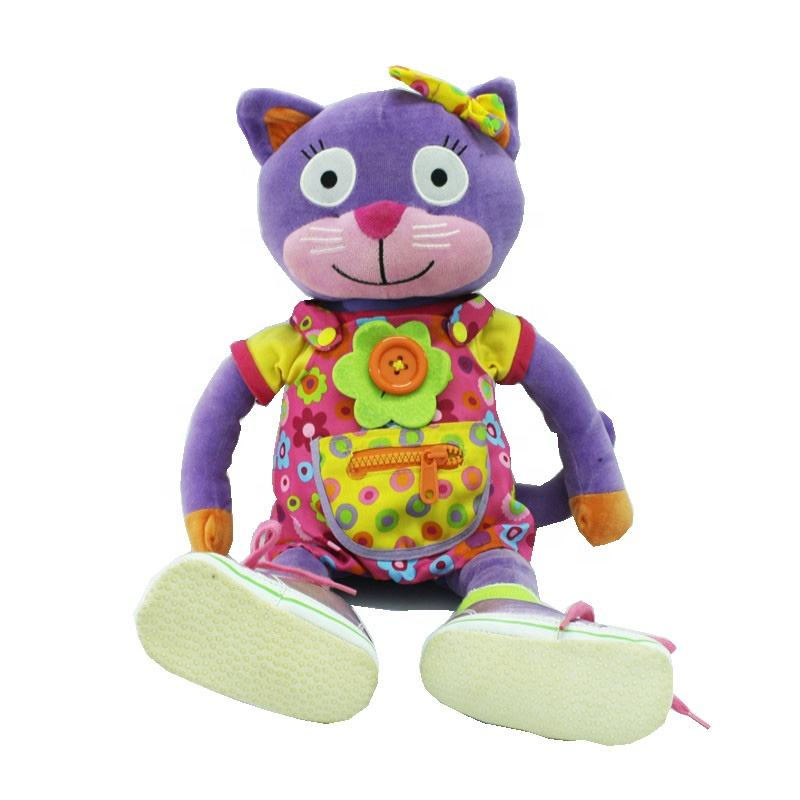 Custom dressed skirt soft Cat Plush doll with real shoes
