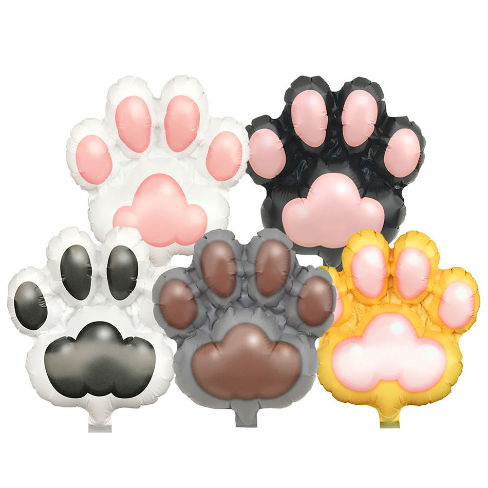 Kids party doggy cats paw shape pads 5inch animal foil balloon