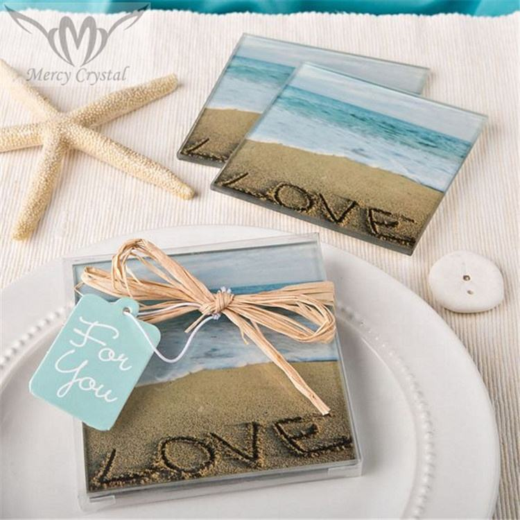 Personalized Wedding Beach Love Glass Coasters for Beach Wedding Souvenirs