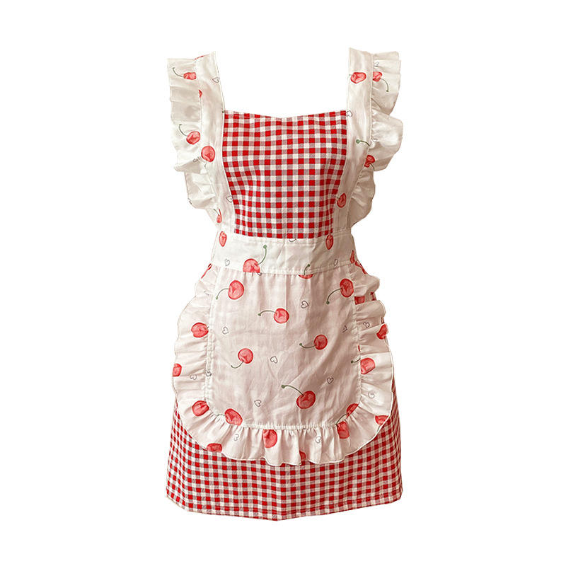 Custom logo Vintage lady's kitchen cooking apron for women with pockets