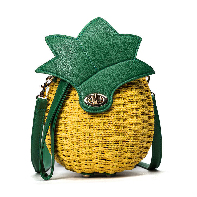 Women Knitted Pineapple Handbag Female Messenger Bags Straw Beach Crossbody Bag Lady Fashion Rattan Clutches Tote