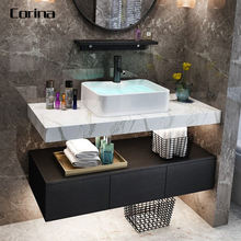 Corina acrylic solid surface Bathroom Toilet wall-mount Wash Basin with Cabinet
