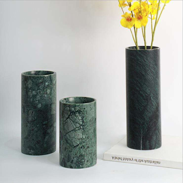 Custom wholesale Modern Style Black natural Marble Home Decorative Flower Vase for home decor