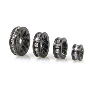 Gunmetal Color Plated Cubic Zirconia Micro Pave Brass Wheel Spacer Beads