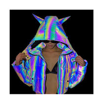 eco friendly washable polyester rainbow reflective jacket fabric for clothing
