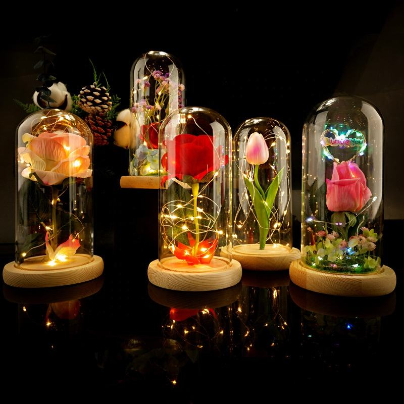 Artificial Valentine's Day Gifts Real Touch Environmental Rose Led Lamp 24k Gold Foil Rose Flower with led light in Glass Dome