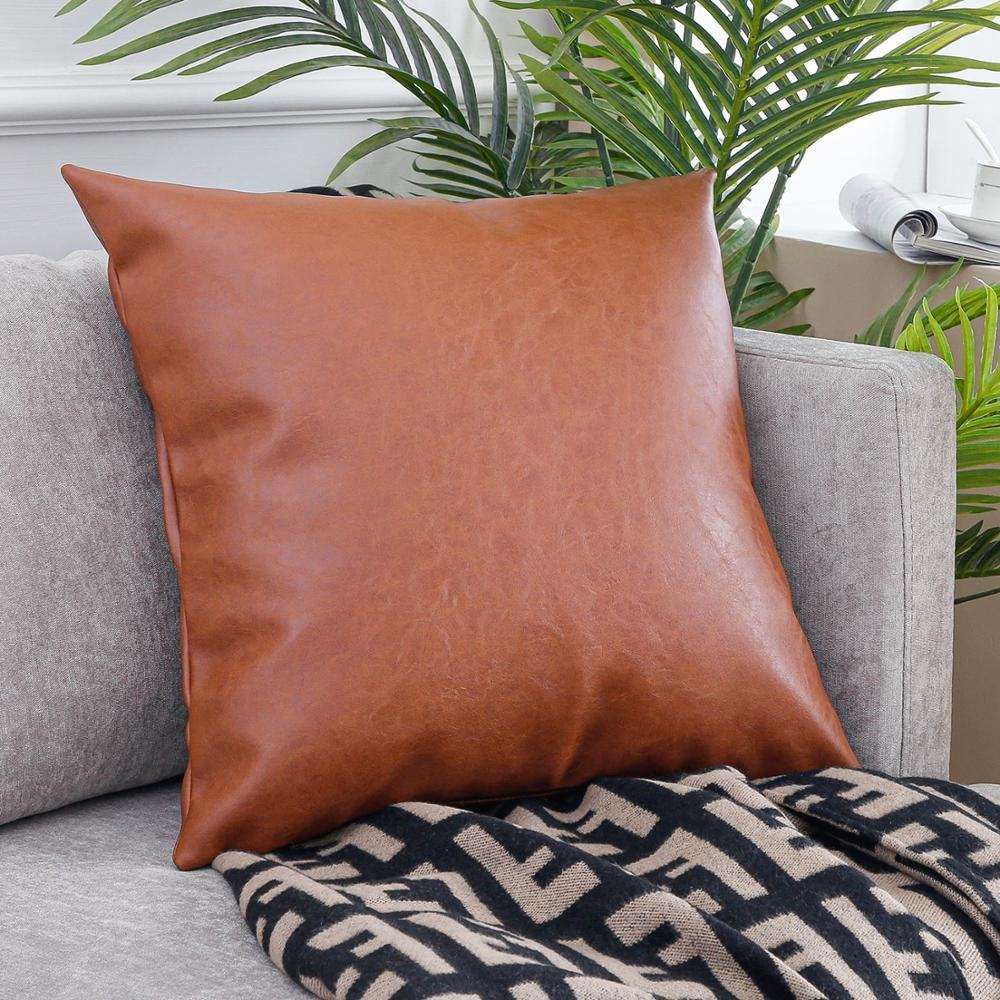 Faux Leather Cushion Covers For Patio Furniture 18 X 18, Wholesale Throw Pillow PU Cushion Cover