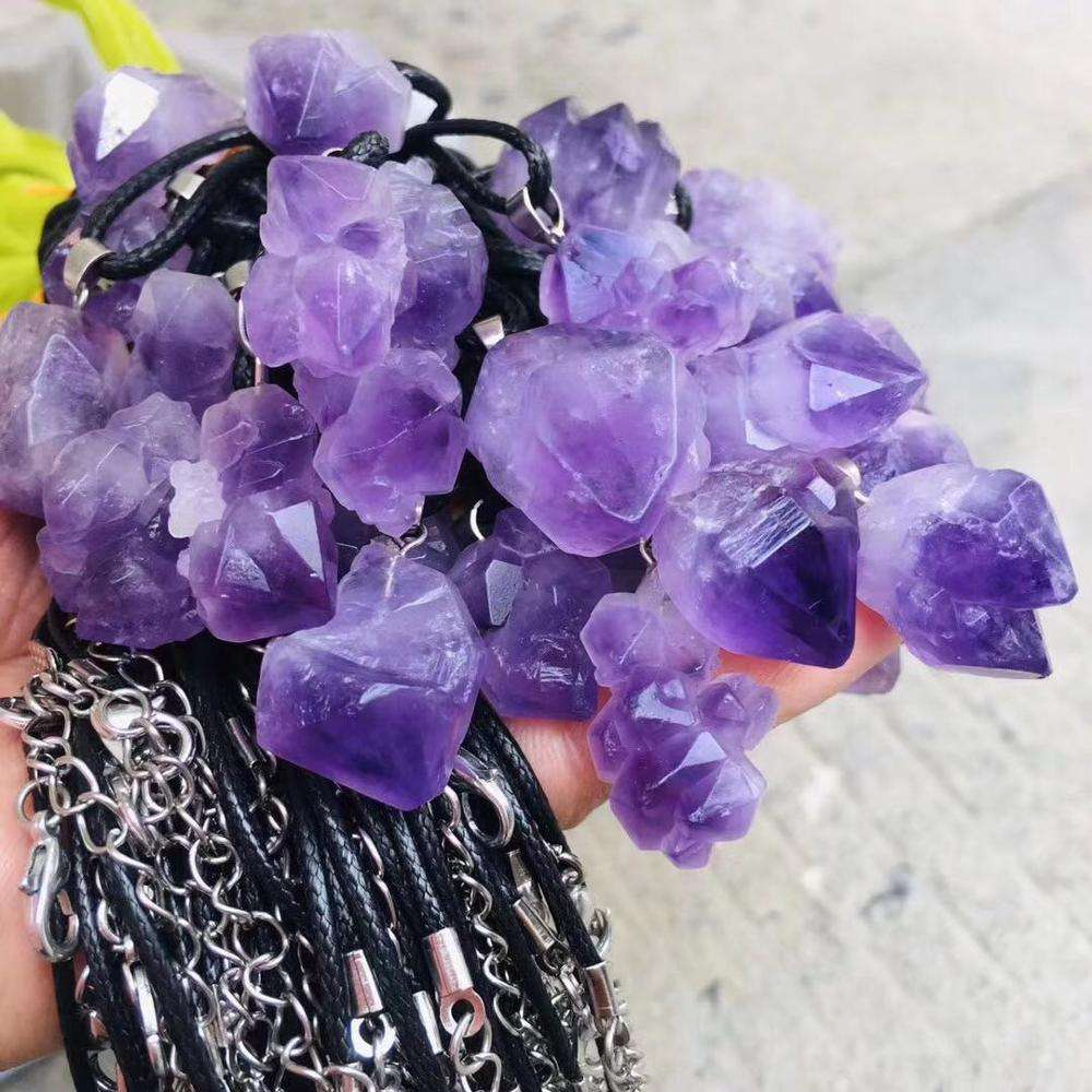 Amethyst cluster pendant natural stones and minerals quartz crystals good luck spiritual healing home decor modern