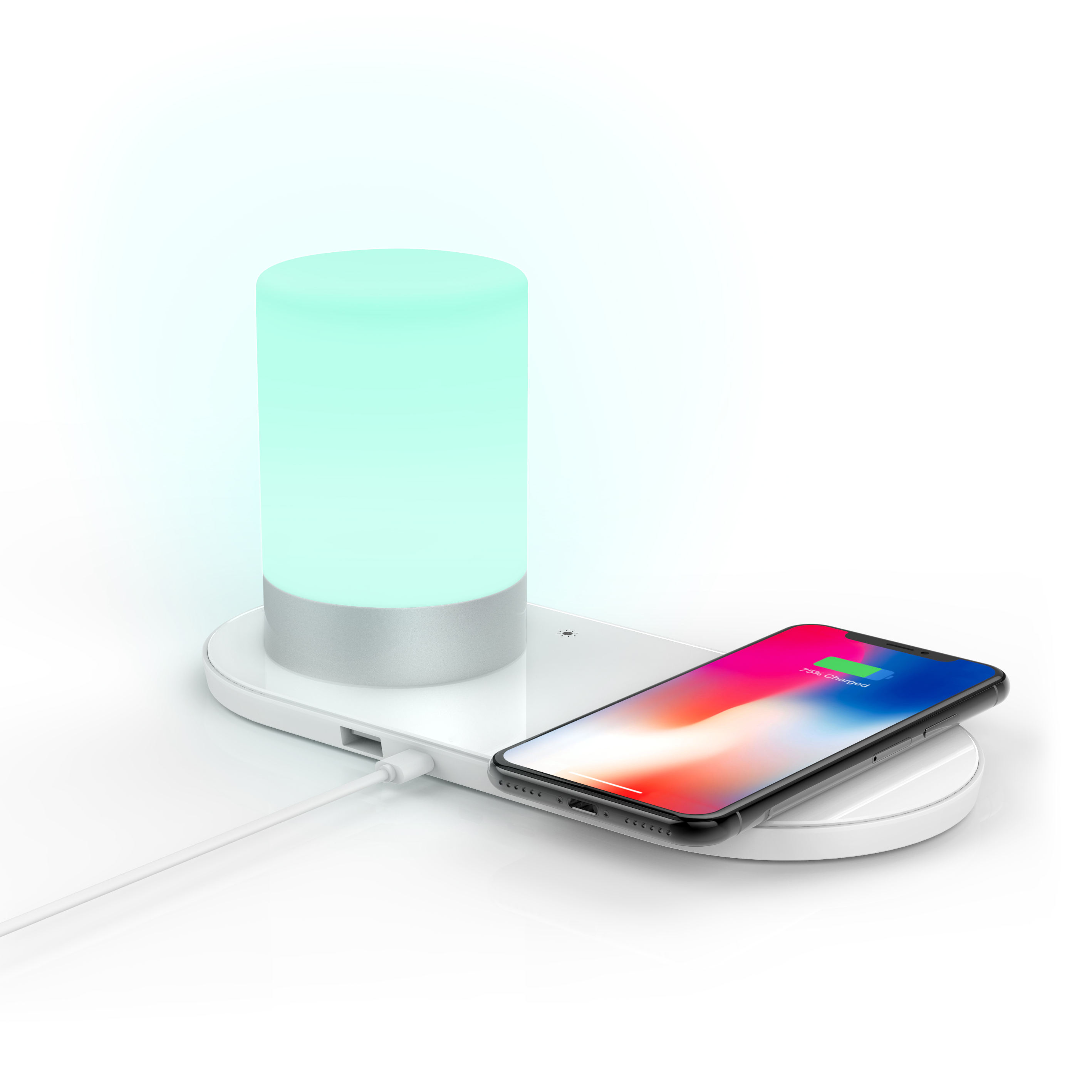 Patented new products 2020 LED night light wireless phone charging station wireless charger for IOS android phone