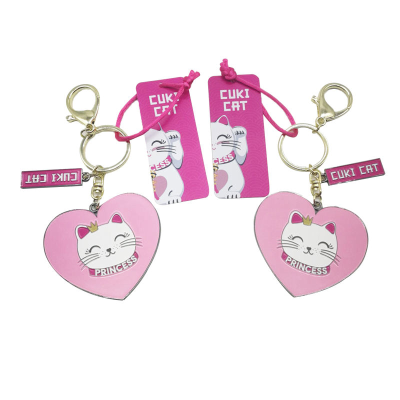 Promotional Custom Soft Enamel 3D Cute Cat Metal Keychains Manufacture