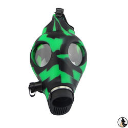 2021 new arrivals environmentally friendly silicone scull hookah mask camouflage two color gun silicone gas mask pipe set