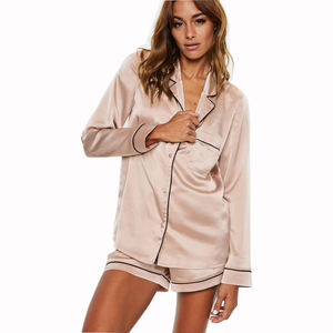 Hot Sale Custom 2019 New Design Color Nightwear Sexy Women Silk Night Wear Ladies