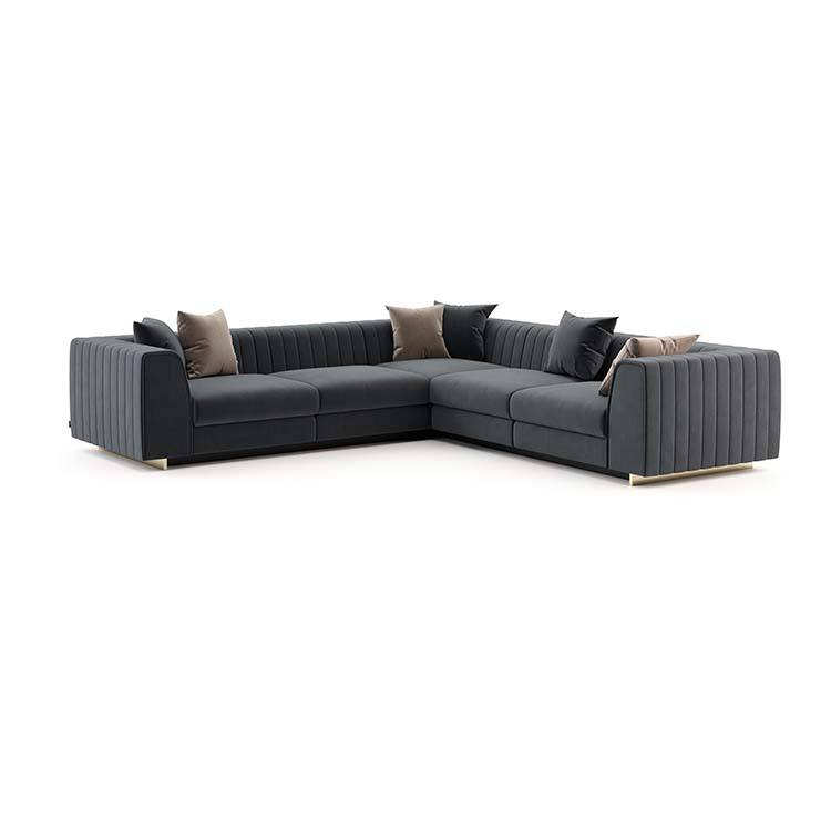 European Modern furniture oversized american grey couch sofa sectional I Shaped Velvet Corner Modular Sectional Sofa