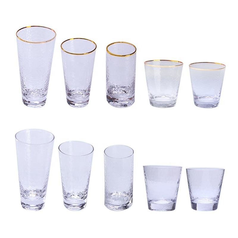 Clear Multi-Specifications Hammerhead Pattern Glassware Dessert Gold Rim Drinking Glass Water Cup Set