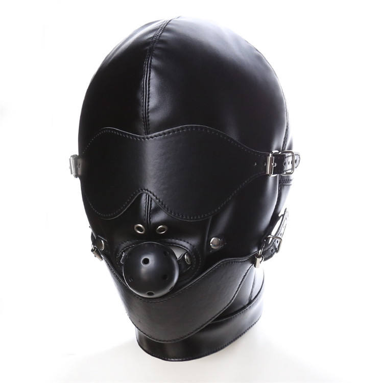 Leather Headgear Full Face Bondage with Ball Gag Mouth Mask Sex Harness