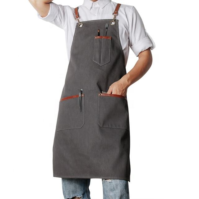 Customized Grey Thick women BBQ Denim Cotton Jeans Apron Pattern With Pocket
