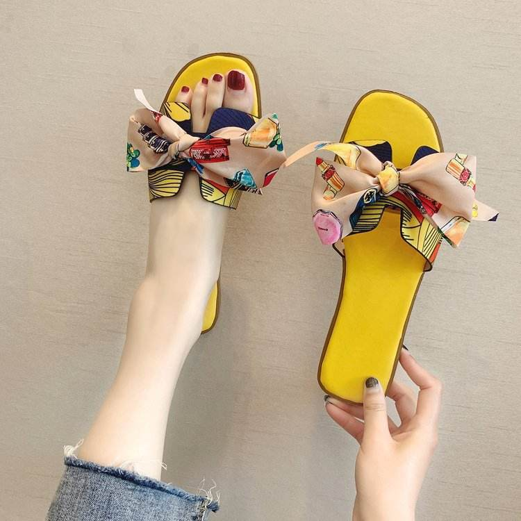 wholesale Summer Popular Women Slide sandal with Bow Decoration Ladies Slipper Printed Flat Slides for girl