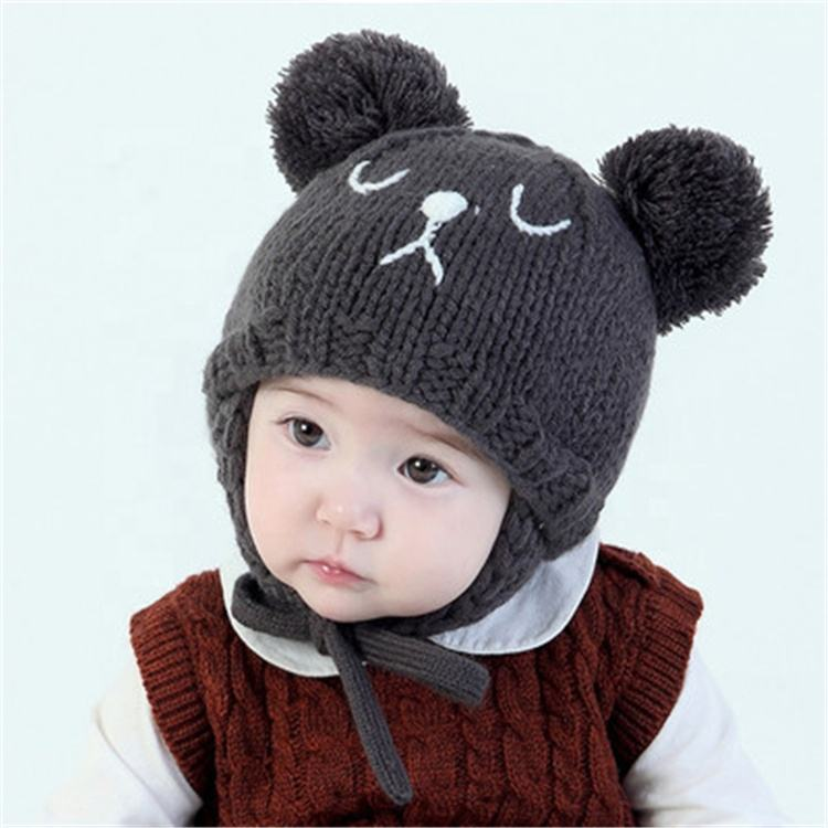 2019 New Arrive Winter Fashion Cute Cartoon Embroidered Baby Bear Animal Warm Knit Beanie Cap