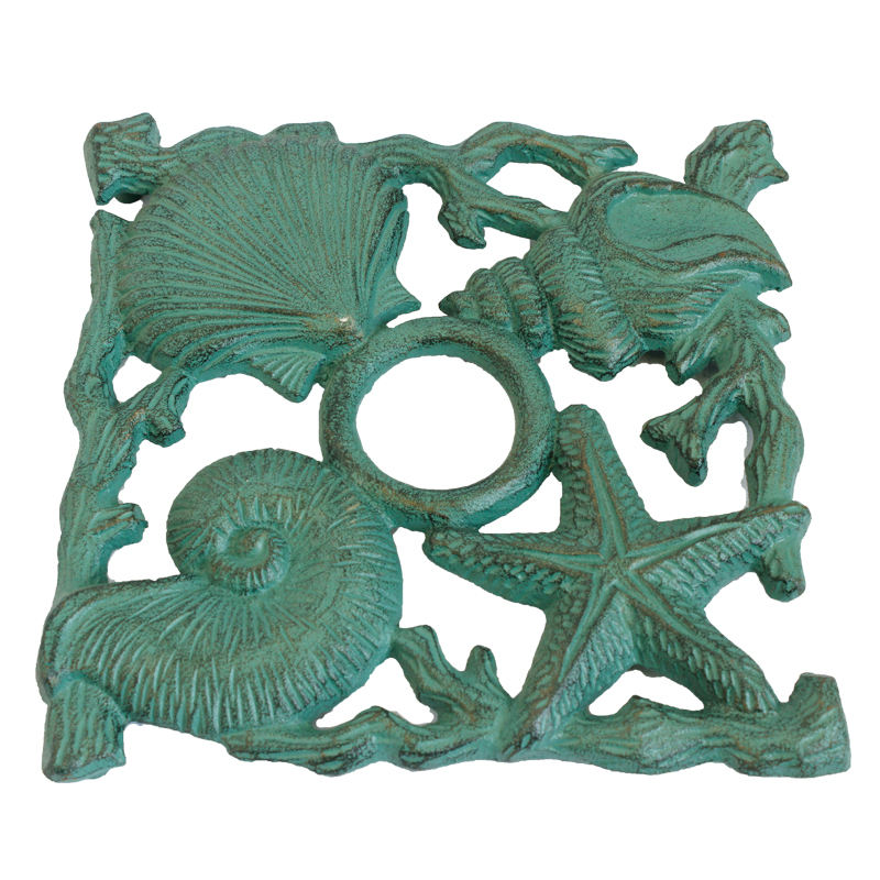 Hot sale metal antique handmadethree starfish, snail and shell square heat pad for home decoration