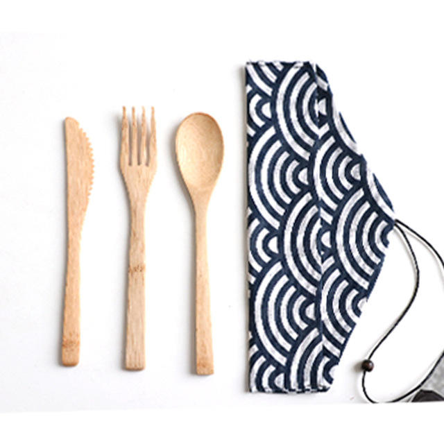 Eco-Friendly Reusable Wooden Bamboo Cutlery Travel Set