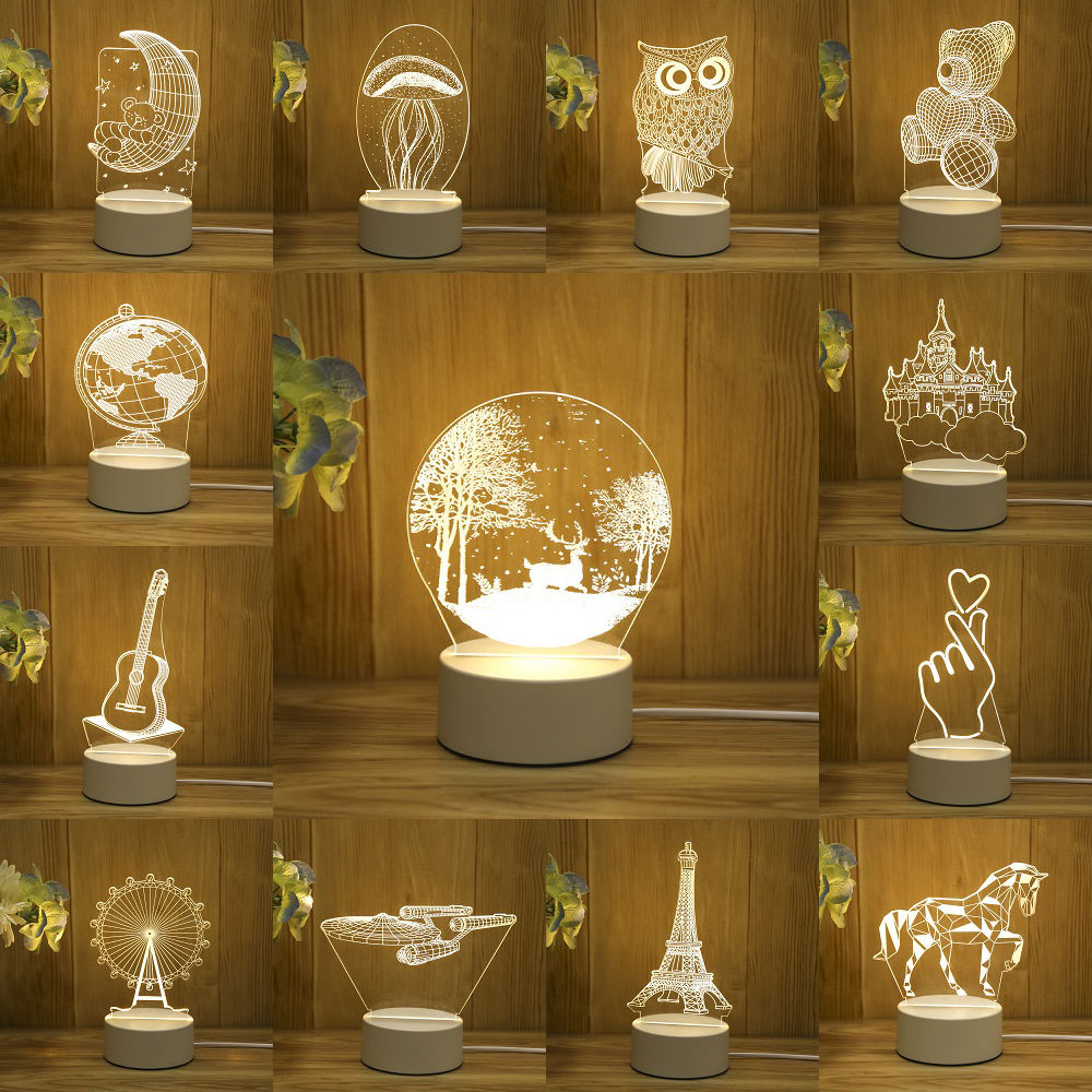 Pir Motion Saving Lamps Modern Led Table Lamp Small Projector Lights for Kids Acrylic Creative 3D Night Light