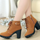 Latest version winter Lace up Martin boots woman Platform high heel ankle boots Warm lady's shoes