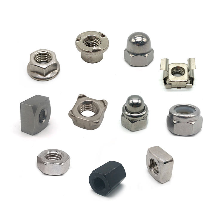 China wholesale customized dome cap nut insert square cage lock heavy coupling hex nuts stainless steel weld hex flange nut