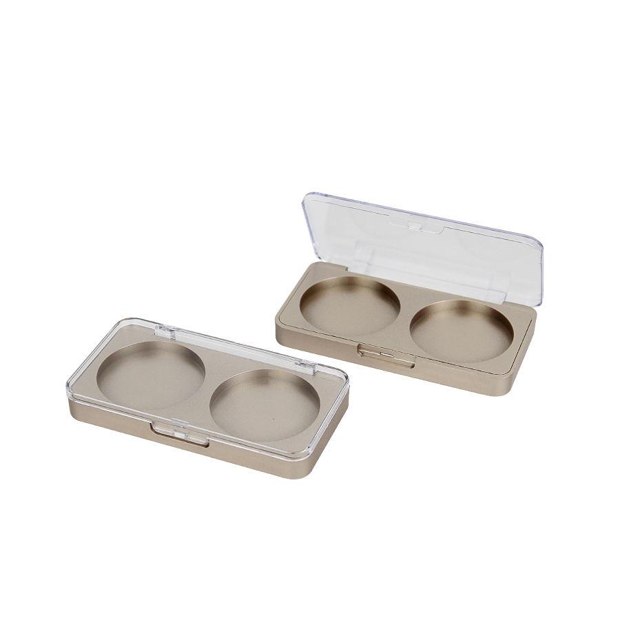 2 renk göz farı kompakt kozmetik paleti ambalaj makyaj kutusu altın plastik oem göz farı paleti