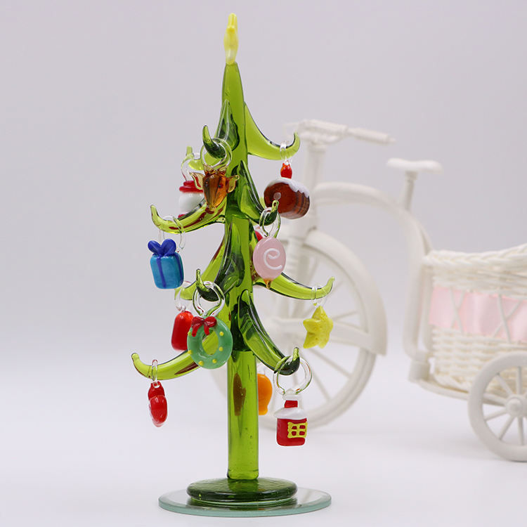 Hand Blown Glass Christmas Tree With Removable Ornament