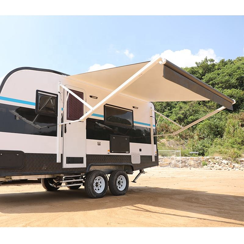 Motorized power rv camper caravan trailer awning with camper replacement fabric