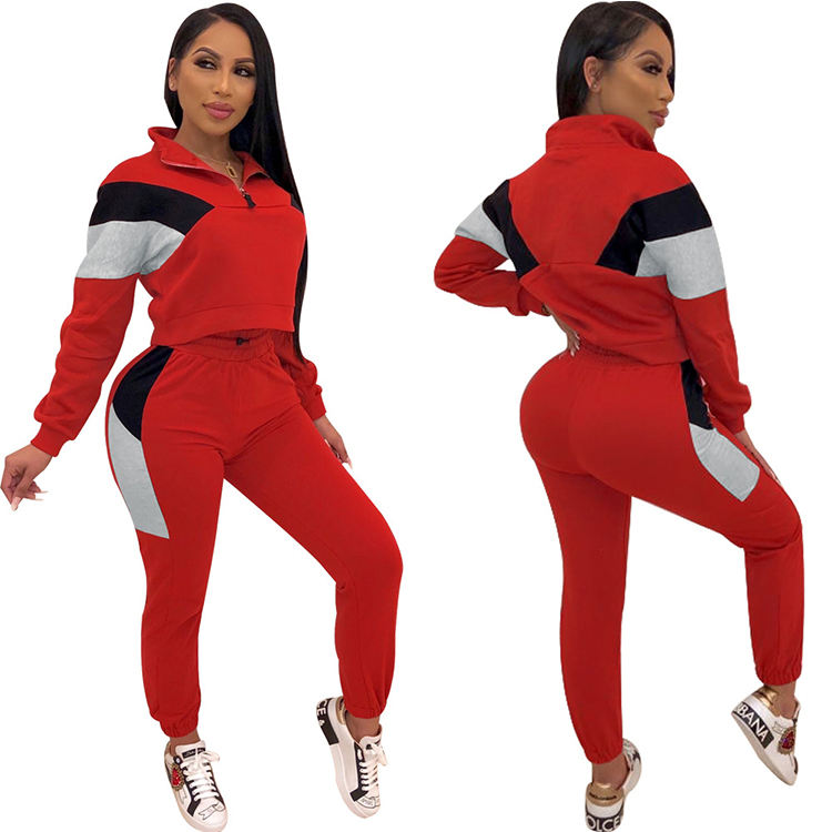 Cheap Autumn Winter Print Outfits Women's Fashion Jogging Sport Tracksuits Two Pieces Tops with Pants Sportswear