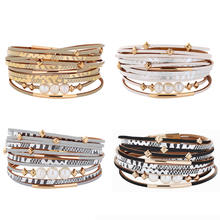 Europe Women Fresh Water Pearl Snake Leather Wrap Bracelet Multilayer Faux Leather Bracelet