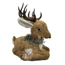 SYAT new year home decor handmade natural straw christmas Sitting Deer