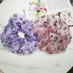 Fashionable women girls cheap organza mesh silk hair scrunchies big lace letter designer scrunchies