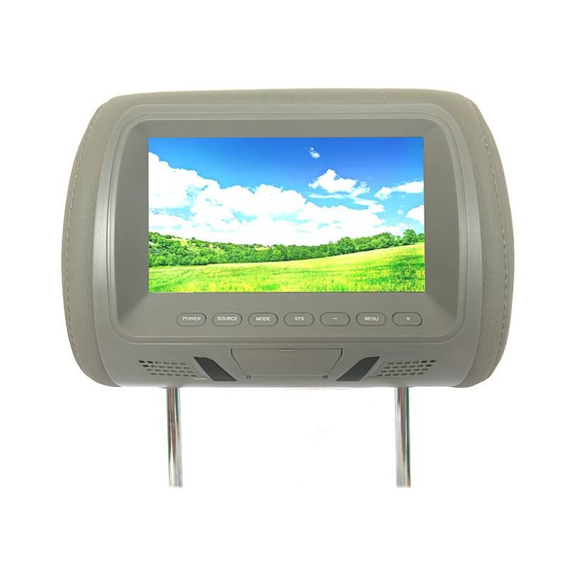 High quality 7 inch headrest monitor for car with pillow bag zipper optional