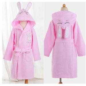 Summer cotton thin Waffle absorbent children nightgown white cartoon animal style boys girls hooded bathrobes