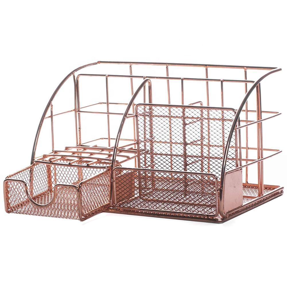 Rose Gold Metal Office Desk Organizer, Storage Holders for Pens, Pencils