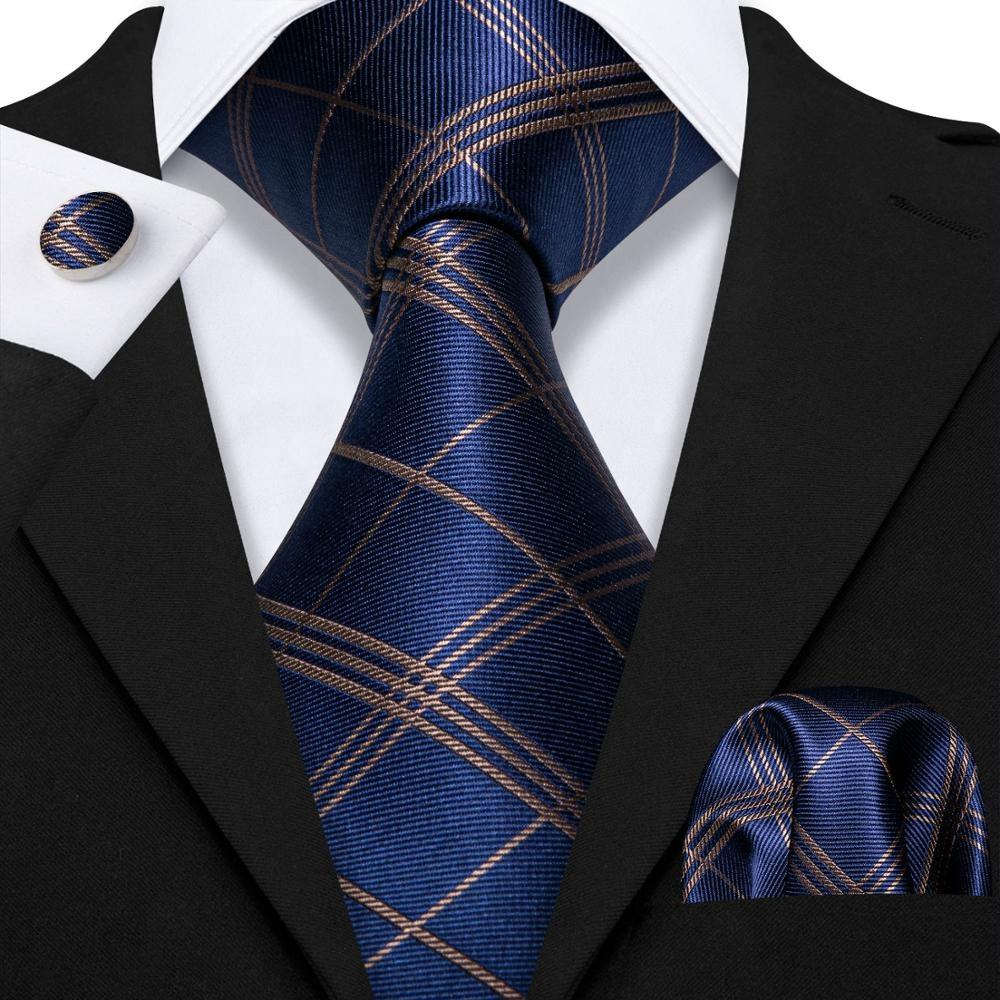 Classic Blue Gold Plaid Jacquard Woven Silk Tie for Mens