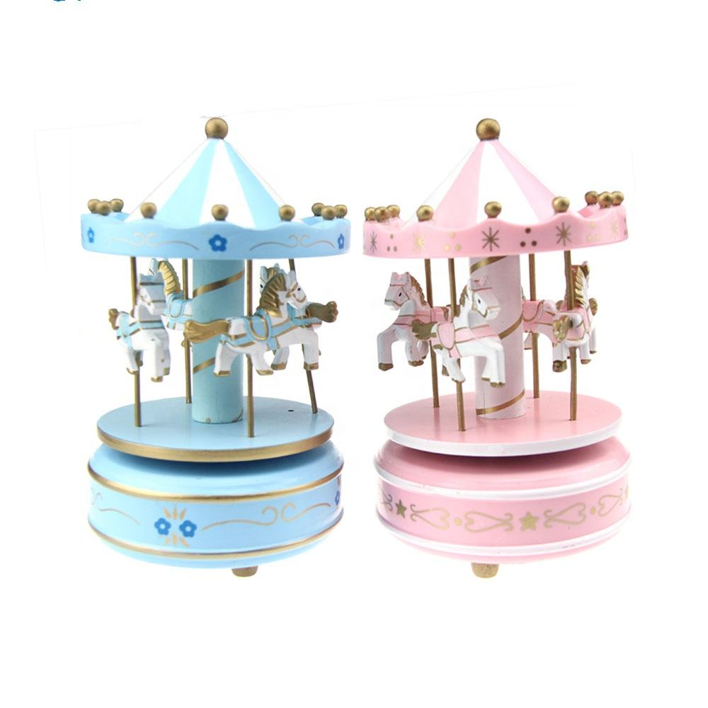 Wholesale baby musical instruments wooden toy carousel horse music box with hand cranked